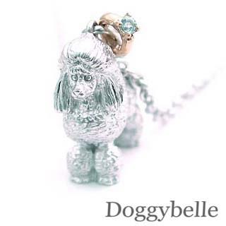 ( 3月誕生石 ) プラチナ K10アクアマリンネックレス(プードル) 犬