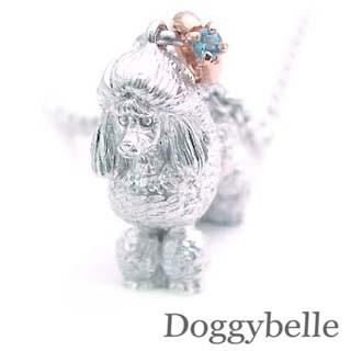 ( 11月誕生石 ) プラチナ K10ブルートパーズネックレス(プードル) 犬