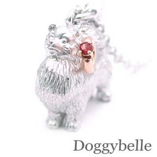 ( 1月誕生石 ) プラチナ K10ガーネットネックレス(ポメラニアン) 犬