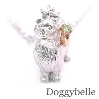 ( 8月誕生石 ) プラチナ K10ペリドットネックレス(ポメラニアン) 犬