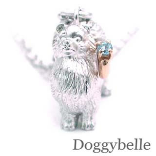 ( 11月誕生石 ) プラチナ K10ブルートパーズネックレス(ポメラニアン) 犬