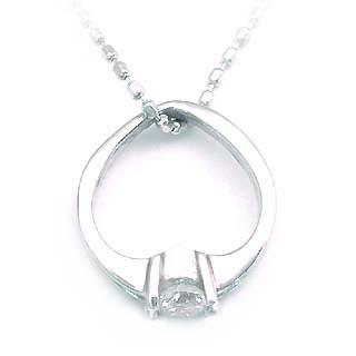 ダイヤモンド ダイヤ ( 4月誕生石 ) K18WG ダイヤモンドベビーリング・ネックレス