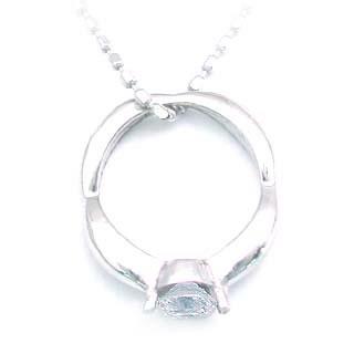 ( 4月誕生石 ) K18WG ダイヤモンドベビーリング・ネックレス