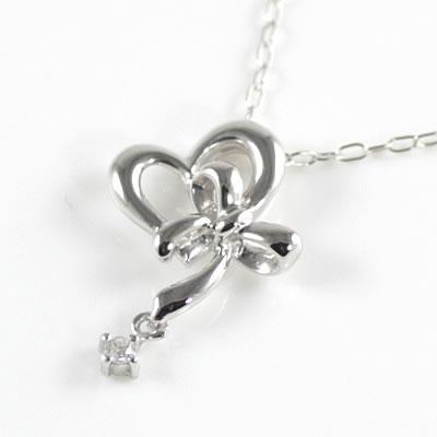 ( Brand Jewelry me. ) K10ホワイトゴールド ダイヤモンドペンダントネックレス(ハートモチーフ)