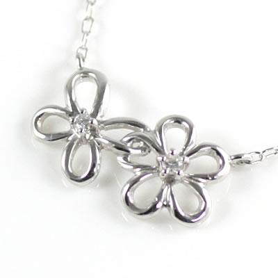 ( 4月誕生石 ) K10ホワイトゴールド ダイヤモンドペンダントネックレス(フラワーモチーフ)【DEAL】