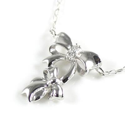 ( Brand Jewelry me. ) K10ホワイトゴールド ダイヤモンドペンダントネックレス(リボンモチーフ)