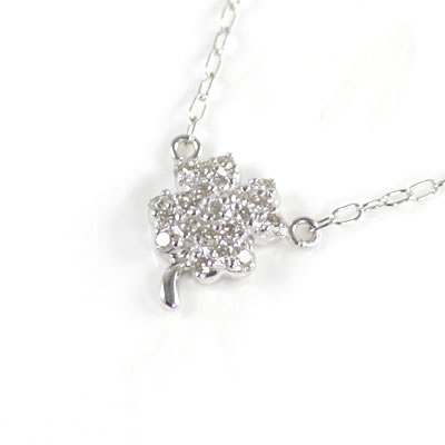 ( Brand Jewelry me. ) K10ホワイトゴールド ダイヤモンドペンダントネックレス(クローバーモチーフ)