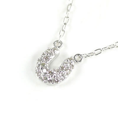( Brand Jewelry me. ) K10ホワイトゴールド ダイヤモンドペンダントネックレス(馬蹄モチーフ)