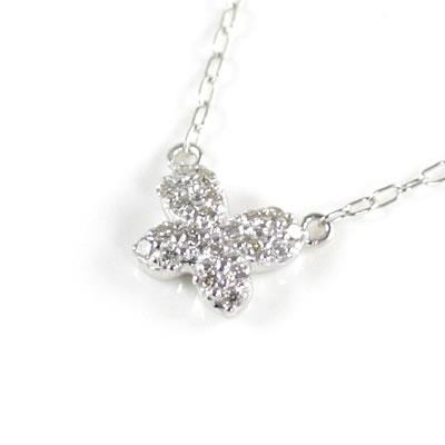 ( Brand Jewelry me. ) K10ホワイトゴールド ダイヤモンドペンダントネックレス(バタフライモチーフ)