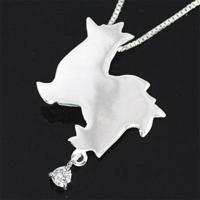 ( 4月誕生石 ) K10ホワイトゴールド ダイヤモンドペンダントネックレス(チワワ) 犬 【DEAL】