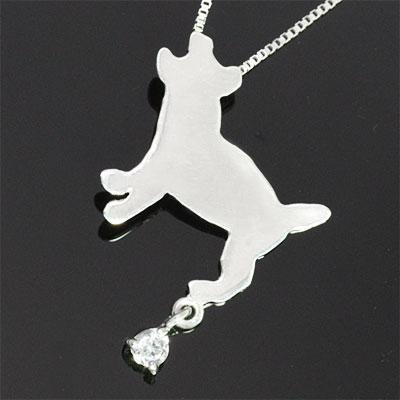 ( 4月誕生石 ) K10ホワイトゴールド ダイヤモンドペンダントネックレス(ジャックラッセル) 犬 【DEAL】
