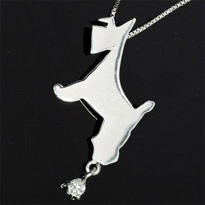 ( 4月誕生石 ) K10ホワイトゴールド ダイヤモンドペンダントネックレス(シュナウザー) 犬