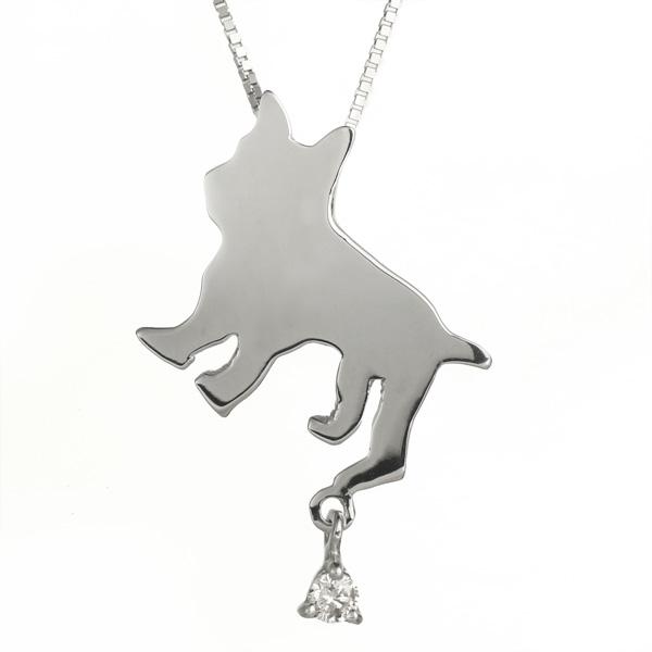 ( 4月誕生石 ) K10ホワイトゴールド ダイヤモンドペンダントネックレス(フレンチブルドック) 犬 【DEAL】