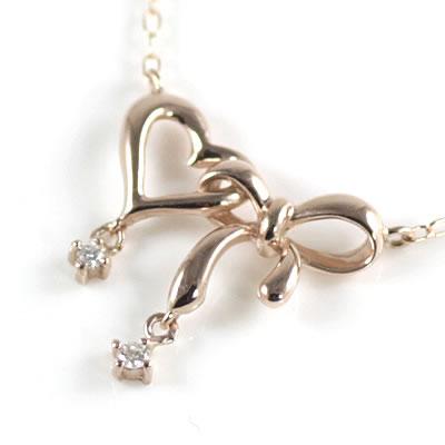 ( 4月誕生石 ) K10ピンクゴールド ダイヤモンドペンダントネックレス(ハートモチーフ)【DEAL】