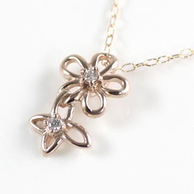 ( Brand Jewelry me. ) K10ピンクゴールド ダイヤモンドペンダントネックレス(フラワーモチーフ)