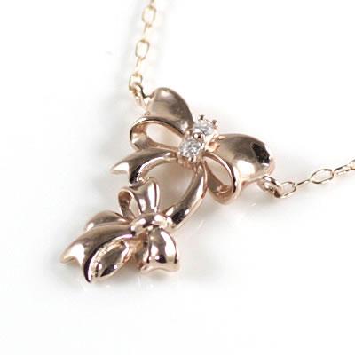 リボンネックレス ( Brand Jewelry me. ) K10ピンクゴールド ダイヤモンドペンダントネックレス(リボンモチーフ)【ネックレス】