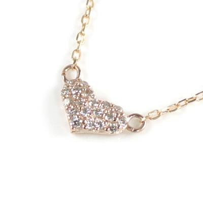 ( Brand Jewelry me. ) K10ピンクゴールド ダイヤモンドペンダントネックレス(ハートモチーフ)【DEAL】