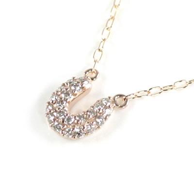 ( Brand Jewelry me. ) K10ピンクゴールド ダイヤモンドペンダントネックレス(馬蹄モチーフ)