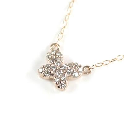 ( Brand Jewelry me. ) K10ピンクゴールド ダイヤモンドペンダントネックレス(バタフライモチーフ)