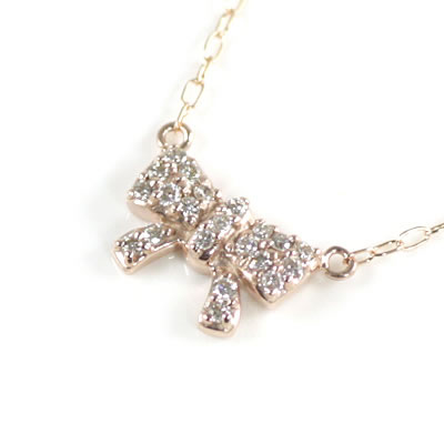 ( Brand Jewelry me. ) K10ピンクゴールド ダイヤモンドペンダントネックレス(リボンモチーフ)