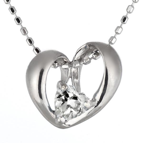 ネックレス メンズ ( 4月誕生石 ) K18WG ダイヤモンドネックレス(ハートモチーフ)