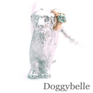 ( 3月誕生石 ) プラチナ K10アクアマリンネックレス(ゴールデンレトリバー) 犬 末広 スーパーSALE