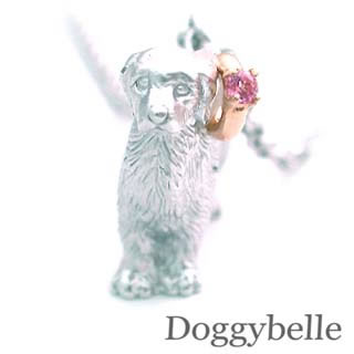 ( 10月誕生石 ) プラチナ K10ピンクトルマリンネックレス(ゴールデンレトリバー) 犬
