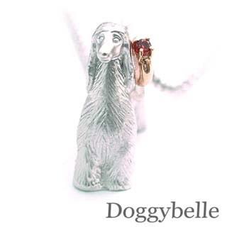 ( 1月誕生石 ) プラチナ K10ガーネットネックレス(アフガンハウンド) 犬