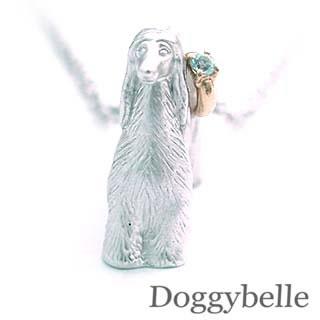 ( 3月誕生石 ) プラチナ K10アクアマリンネックレス(アフガンハウンド) 犬
