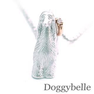 ( 4月誕生石 ) SV K10ダイヤモンドネックレス(アフガンハウンド) 犬