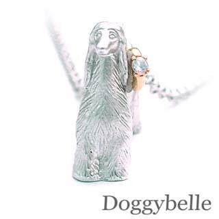 ( 6月誕生石 ) プラチナ K10ムーンストーンネックレス(アフガンハウンド) 犬