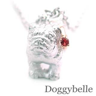 ( 1月誕生石 ) プラチナ K10ガーネットネックレス(ブルドック) 犬