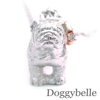 ( 4月誕生石 ) SV K10ダイヤモンドネックレス(ブルドック) 犬 【DEAL】