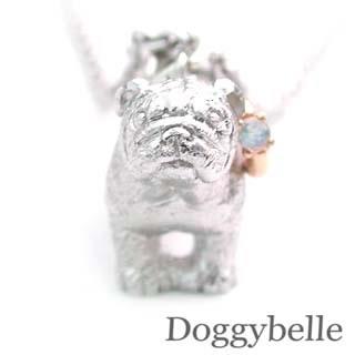 ( 6月誕生石 ) SV K10ムーンストーンネックレス(ブルドック) 犬