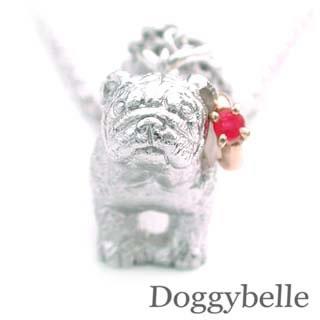 ( 7月誕生石 ) プラチナ K10ルビーネックレス(ブルドック) 犬