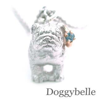 ( 11月誕生石 ) プラチナ K10ブルートパーズネックレス(ブルドック) 犬