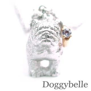 ( 12月誕生石 ) プラチナ K10タンザナイトネックレス(ブルドック) 犬