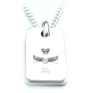 ネックレス メンズ ( 4月誕生石 ) SVメッセージダイヤモンドペンダント(クロスモチーフ)