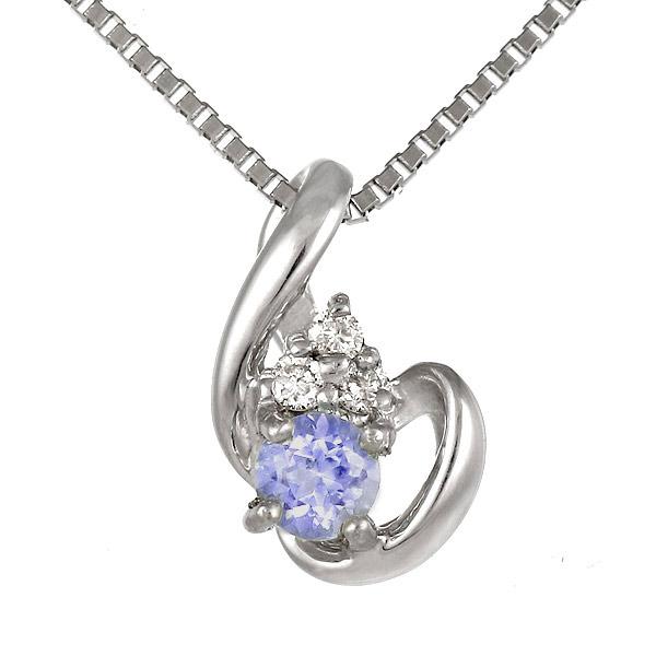タンザナイト ネックレス ダイヤモンド K18WG 18金 ホワイトゴールド 12月誕生石 パープル
