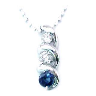 ネックレス メンズ サファイア サファイヤ ( 9月誕生石 ) K18WG サファイアネックレス