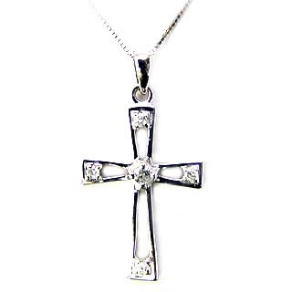クロス ( K10WG )ダイヤモンドペンダントネックレス(クロスモチーフ)