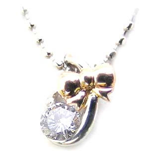 ネックレス メンズ リボン ( 4月誕生石 ) Pt K18ピンクゴールドダイヤモンドペンダント