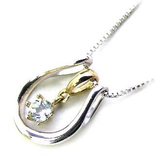 アクアマリン ( 3月誕生石 ) K18WG・K18 アクアマリンペンダント ネックレス(馬蹄モチーフ)【DEAL】