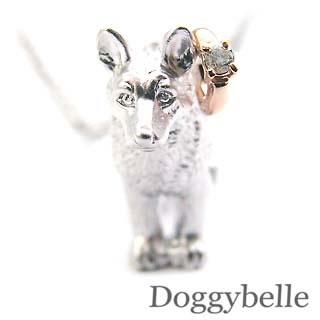 ( 4月誕生石 ) プラチナ K10ダイヤモンドペンダントネックレス(ジャーマンシェパードドッグ) 犬