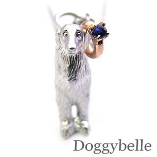 ( 9月誕生石 ) プラチナ K10サファイアペンダントネックレス(ボルゾイ) 犬