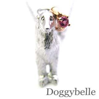 ( 10月誕生石 ) SV K10ピンクトルマリンペンダントネックレス(ボルゾイ) 犬