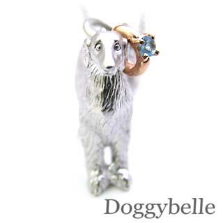 ( 11月誕生石 ) プラチナ K10ブルートパーズペンダントネックレス(ボルゾイ) 犬