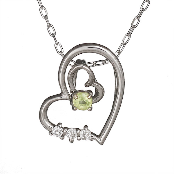ネックレス ペリドット ダイヤモンド ハート K10ホワイトゴールド プレゼント ダイヤネックレス