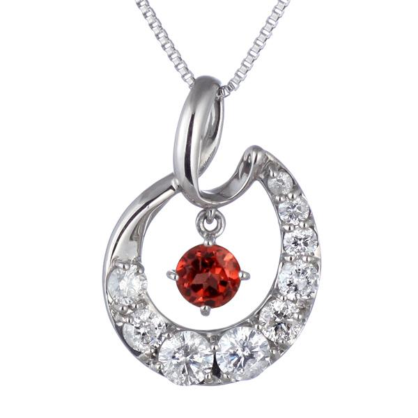 結婚10周年 ダイヤモンド ネックレス レディース エタニティ 天然石 ガーネット 1月 誕生石 日本製