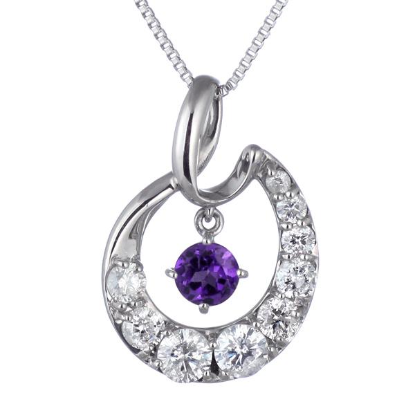 結婚10周年 ダイヤモンド ネックレス レディース エタニティ 天然石 アメジスト 2月 誕生石 日本製